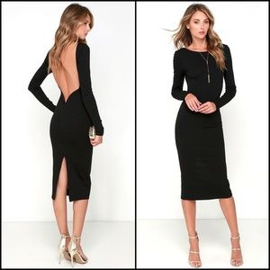 NWOT Lulus Black Backless Midi Dress